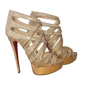Christian Louboutin Goldheels Redsoles Nude and gold glitter Platforms