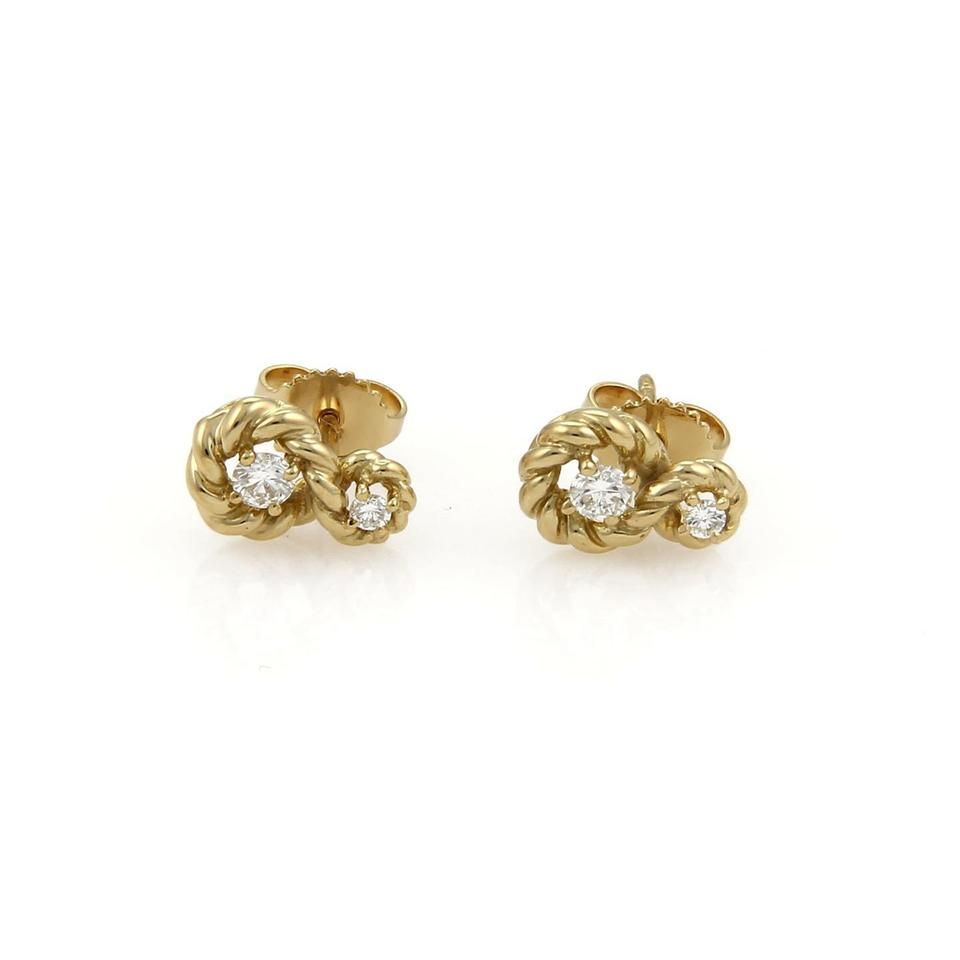 Tiffany & Co. Yellow Gold Diamond Twisted Wire Stud Earrings - Tradesy
