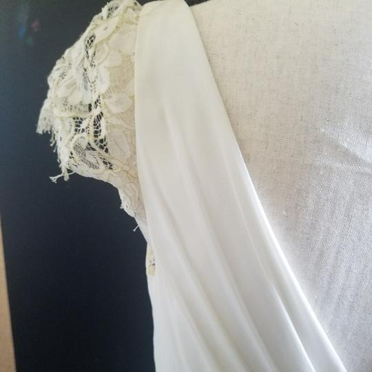 Jenny Yoo White Polyester Poly Lining Metallic Lace Evangeline Feminine Wedding Dress Size 8 (M)