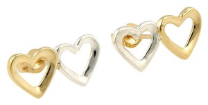 Tiffany & Co. Tiffany & Co. 18K Yellow Gold & 925 Silver Double Heart Stud Earrings