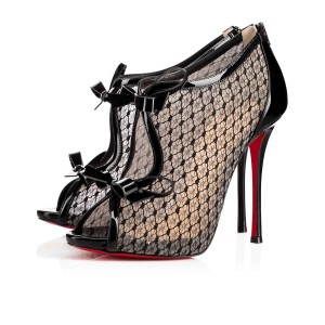 Christian Louboutin Empiralta 120 Lace Bow Bootie Black Sandals