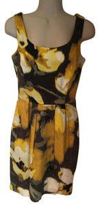 Eliza J short dress yellows, brown, black, Floral Fit And Flare on Tradesy