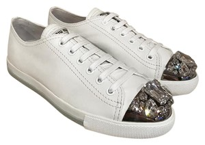 Miu Miu Crystal Platform Lace Sneaker Trainer white Athletic
