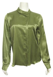 Max Mara New Nwt 100% Silk L 12 Buttoned Shirt Italy Italy Nordstrom Up Top green