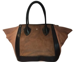 Pour La Victoire Calf Hair Leather Expandable Tote in brown & tans