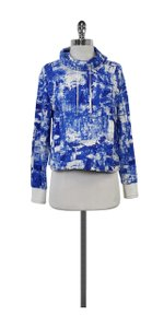 Helmut Lang White Blue Abstract Print Sweatshirt