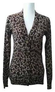 Tory Burch Leopard Logo Animal Print Wool Cardigan