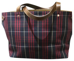Burberry Tote in blue and red