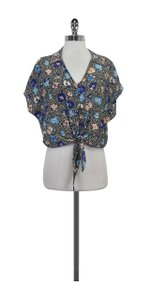 Yumi Kim Multi Color Floral Print Tie Front Top