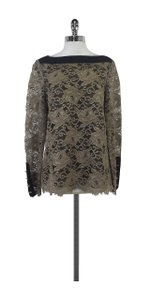 Tory Burch Tan Black Lace Shirt Sweatshirt
