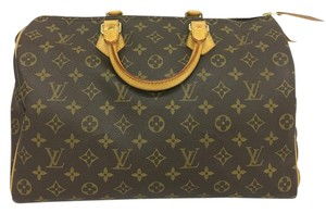 Louis Vuitton Lv Monogram Speedy 35 Canvas Tote in brown