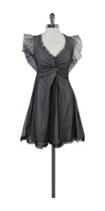 RED Valentino short dress Grey Black Mesh Overlay on Tradesy