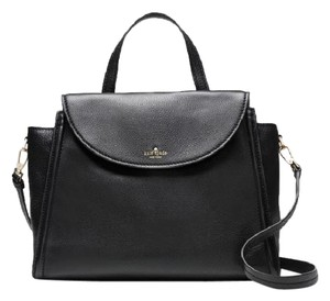 Kate Spade Cobble Hill Leather Large Adrien Satchel in Black gold