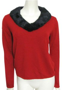 Norton McNaughton New Black Faux Fur V-neck S 4 6 Small Acryllic Long Sleeve Collared Sweater
