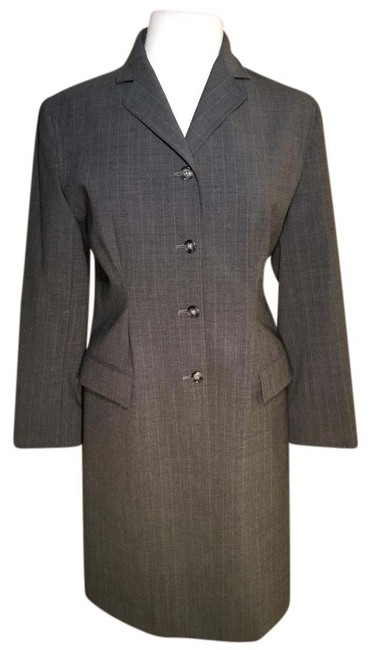 Item - Grey Notched Collar 4 Button Pockets Fitted Coat Size 8 (M)