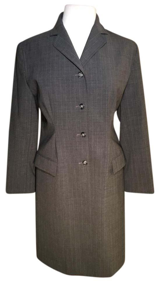 a3b1a526ab8 Zara Notched Collar Pockets Pinstripe Fitted Trench Coat Image 0 ...