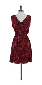 Alice + Olivia short dress Red Pink Abstract Print Silk on Tradesy
