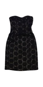 Badgley Mischka short dress Black Floral Eyelet Strapless on Tradesy
