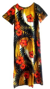 multi Maxi Dress by Other Hawaiian Maxi Linen Tropical Size L