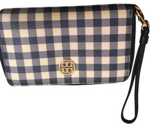 Tory Burch Wristlet in white and navy blue