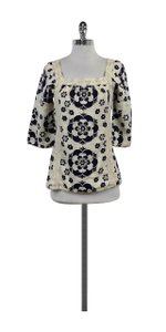 Tory Burch Tan & Blue Floral Embellished Linen Top