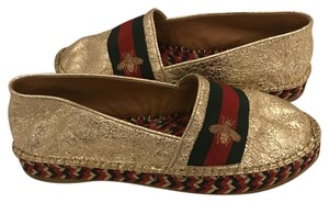 Gucci Espadrilles Leather Bee Embroidered GOLD Flats