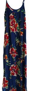 Blue with magenta, orange, white, yellow and turquoise flowers. Maxi Dress by Old Navy