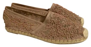 Valentino Espadrille Rope Beaded Lace Nude Flats