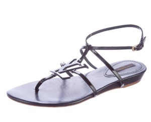 Louis Vuitton Patent Leather Strappy Cage Gladiator Lv Logo Black Sandals