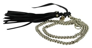 Gucci Women's Gold Chain Belt with Black Leather Tassel 85/34 388992 8061
