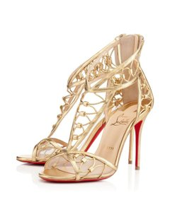 Christian Louboutin Martha Cut-out Ankle Strappy Hardware Gold Sandals