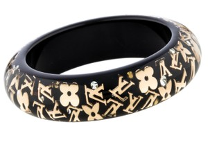 Louis Vuitton Gold-tone Louis Vuitton Inclusion LV monogram wide bangle