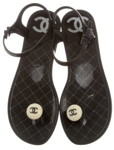 Chanel Interlocking Cc Logo Ankle Strap Pearl Jelly Black, White Sandals
