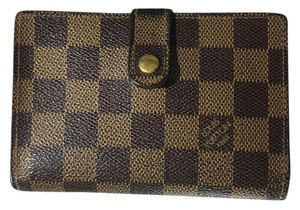 Louis Vuitton Damier Ebene Kiss Closure Bifold Wallet with Coin Compartment