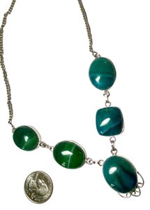 New Green Agate Gemstone 925 Silver Necklace Large Stones J741