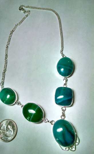 Other Green Agate Gemstone 925 Silver Necklace Large Stones J741