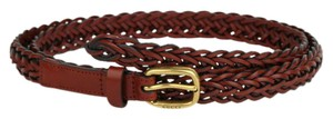 Gucci Red Braided Leather Skinny Belt w/gold Buckle 80/32 380607 7508