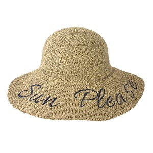 Fashion Culture Fashion Culture 'Sun Please' Packable Woven Sun Hat, Natural