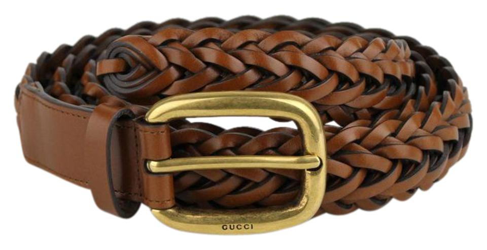 5c41bee8266 Gucci Light Brown Braided Leather Belt w gold Buckle 90 36 380606 2535 ...