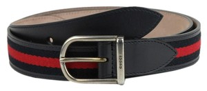 Gucci Gucci Navy Blue Leather BRB Belt with Silver Buckle 95/38 368189 8497