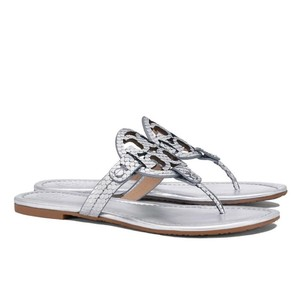 Tory Burch Snake Silver Sandals