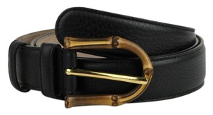 Gucci Women's Black Leather Belt with Bamboo Buckle 100/40 322954 1000