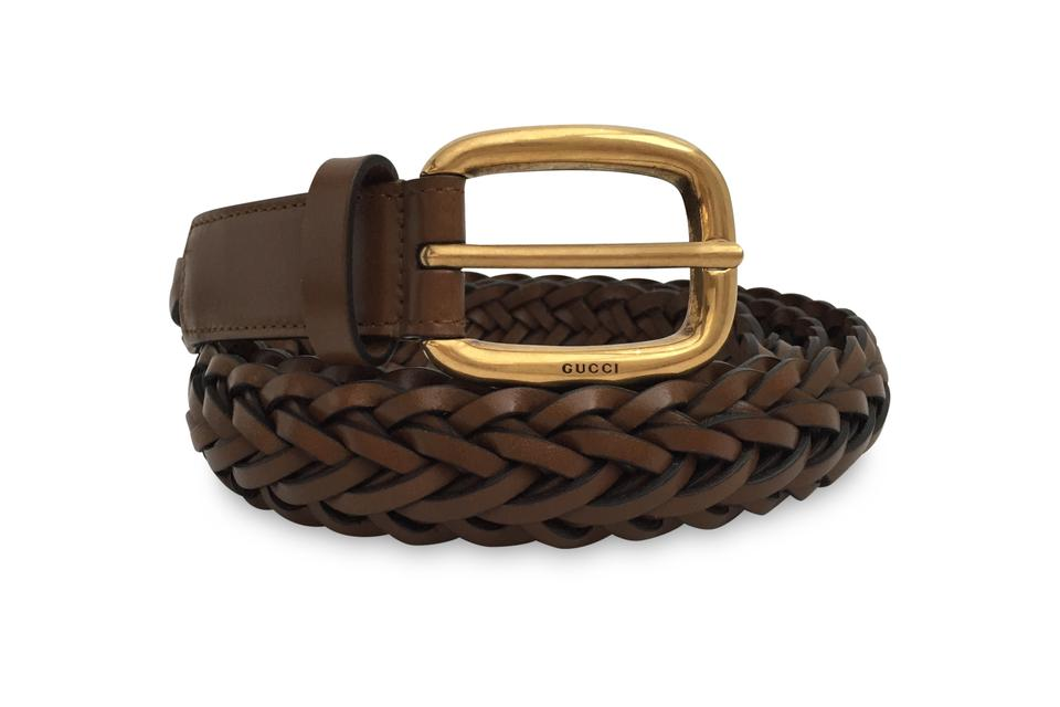 90ba5aa399c Gucci Brown Braided Leather Belt - Tradesy