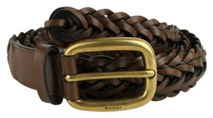 Gucci Gucci Brown Braided Leather Belt with Gold Buckle 95/38 380606 2617