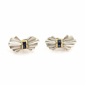 Tiffany & Co. Vintage Tiffany & Co. Sapphire 925 Silver 18k Yellow Gold Bow Earrings