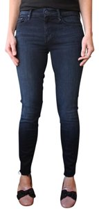 Mother Denim Frayed Skinny Skinny Jeans-Dark Rinse
