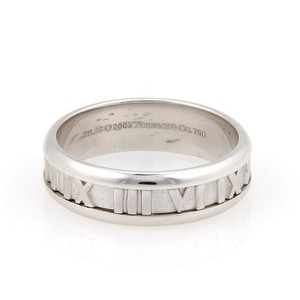 Tiffany & Co. ATLAS Roman Numeral 18K White Gold 7mm Band Ring- Size 11.25 Box