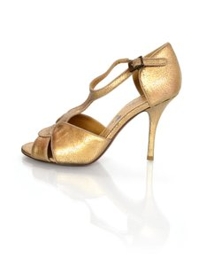 Lanvin Distressed T-strap Gold Sandals