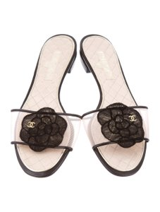 Chanel Mesh Floral Gold Hardware Interlocking Cc Embellished Beige, Black, Pink Sandals