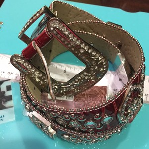 Other Red Leather & Blingy Belt